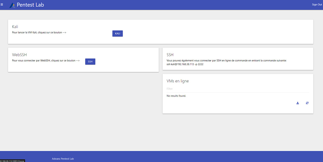 Pentest Lab : page VM