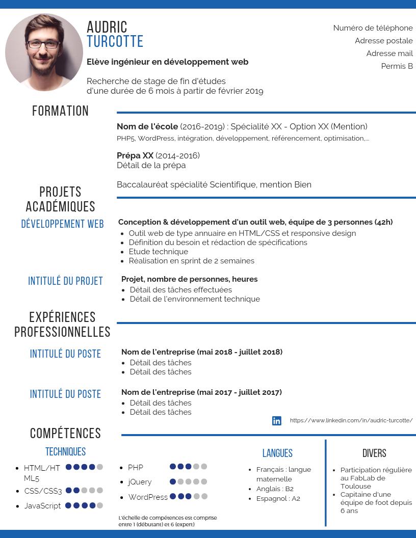 CV stage étudiant : toutes les rubriques détaillées + un ...